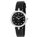 Omega De Ville Prestige Black Diamond Dial Leather Strap Ladies Watch