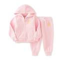 Juicy Couture Girls' 2 Piece Velour Hooded Jacket and Pant Set