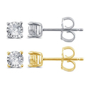 1/4 CTTW Diamond Miracle Plate Earring in 10K Gold by Brilliant Diamond