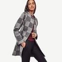 Ann Taylor Plaid Merino Wool Sweater Coat