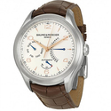 Baume and Mercier Clifton Silver Dial Brown Leather Men's Watch