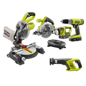 Ryobi ONE+ 18-Volt Lithium-Ion Cordless Combo Kit with Miter Saw
