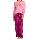 Women's Knit Sleep Top and Microfleece PJ 2-Piece Set