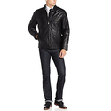 Perry Ellis Men's Lambskin Leather Open Bottom Jacket