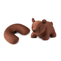 Kikkerland Zip and Flip Bear Travel Pillow, Brown