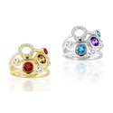 1.8-1.85 CTTW Multi Genuine Gemstone Cocktail Rings