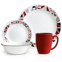 Corelle 16-Piece Livingware Mosaic Red Dinnerware Set