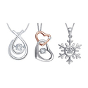 Brilliant Diamond Round Cut Diamond Pendants in Sterling Silver