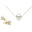 Genuine Pearl Earrings and Pendant Set in 14K Gold Plating (2-Piece)