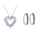 Genuine Tanzanite and White Topaz Heart Pendant or Hoop Earrings