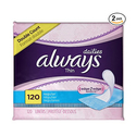 Always Thin Dailies Unscented Wrapped Liners 120 Count - Pack of 2