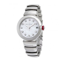 Bvlgari LVCEA Automatic White Mother of Pearl Diamond Dial Stainless Steel Ladies Watch