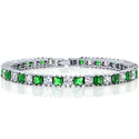 Sparkling Princess Cut Green & White Cubic Zirconia Tennis Bracelet