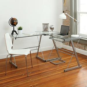 Walker Edison 3-Piece Contemporary Glass and Steel Desk