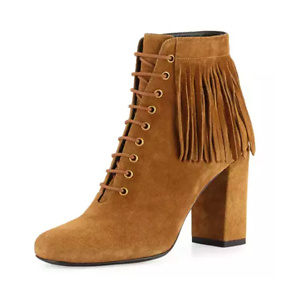 Neiman Marcus:Saint Laurent Fringed Suede Lace-Up Boot