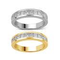 Brilliant Diamond 1.00 CTTW Princess Channel Band in 10K Solid Gold