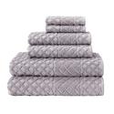 Glossy Textured 100% Turkish Cotton Towel Set (6-Piece)