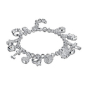 Solid Sterling Silver Charm Bracelet with Swarovski Elements