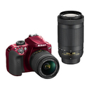 Nikon D3400 w/ 18-55mm + 70-300mm f/4.5-6.3G ED (Red)