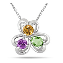 Multi-Color Heart Clover Gemstone Pendant in .925 Sterling Silver