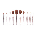 Metallic Oval Makeup Brush Set (10-Piece)