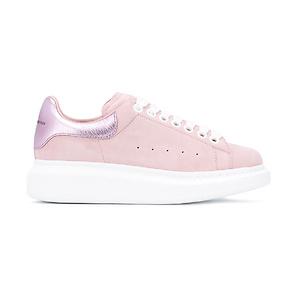 Farfetch:Alexander McQueen Pink Suede Platform Sneakers