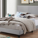 Ramon Queen Size Fabric Platform Bed with Nailheads