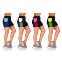 Women's Active-Wear Shorts with Mesh Cell Phone Pocket (4-Pack)