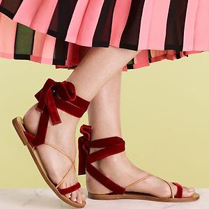 Neiman Marcus: Valentino Velvet Lace-Up Flat Sandal