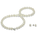 Sterling Silver Heart Clasp Freshwater Pearl Necklace and Earring Set