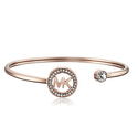 Michael Kors Rose Gold-Tone MK Logo Bangle Bracelet