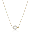 14k Yellow Gold White Round Japanese Akoya Pearl Chain Necklace