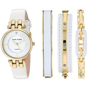 Anne Klein Women's Diamond-Accented Gold-Tone and White Leather Strap Watch and Bangle Set
