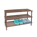 12 Pair Dark Wood 3-Tier Shoe Rack