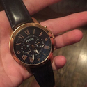 Fossil Men's Grant Stainless Steel Watch with Brown Leather Band