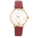 kate spade new york Merlot Leather and Goldtone Cancer Metro Watch