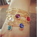 "Alex and Ani ""Bangle Bar"" September Birth Month Shiny-Silver Tone Expandable Bracelet"
