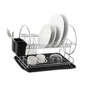 Deluxe 2-Tier Chrome Dish Rack Set with Drain Board (4-Piece)