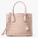 Michael Kors Mercer Perforated 真皮粉色小挎包