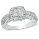 Quad Diamond Accent Square Frame Promise Ring in Sterling Silver