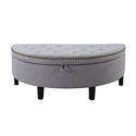 Eleanor Linen Contemporary Nailhead Trim Storage Ottoman