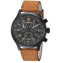 Timex Men?s TW4B12300 Expedition Rugged Field Chronograph Tan/Black Leather Strap Watch