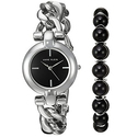 Anne Klein Women's AK/2837ONYX Silver-Tone Watch