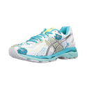 ASICS Women's Gel-Kayano 23 Running Shoe - White/Silver/Aquarium