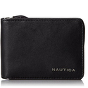 Nautica Men's Leather Slim Zip Wallet,Black