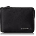 Nautica Men's Leather Slim Zip Wallet,Black
