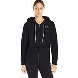 Under Armour Women's Favorite Fleece Full Zip, Black/White, Small
