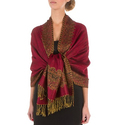 Border Pattern Double Layer Woven Pashmina Shawl