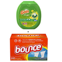 Gain Flings Original Laundry Detergent Pacs, 81 Count + Bounce Fabric Softener Sheets 240