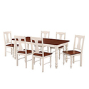 WE Furniture 7 Piece Two Toned Solid Wood Dining Set